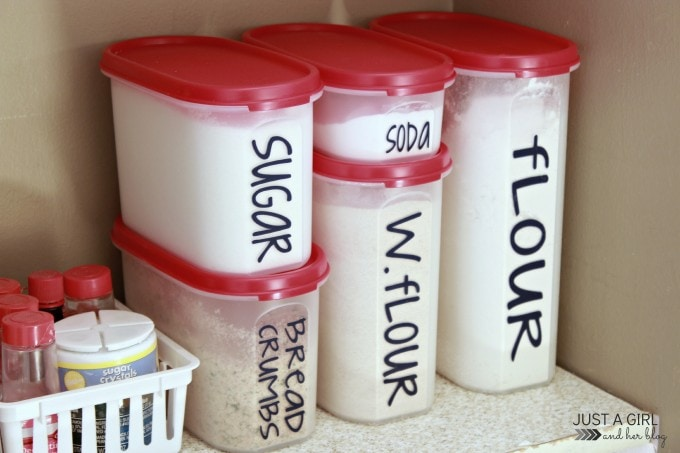 Organizing the Pantry with Tupperware by JustAGirlAndHerBlog.com