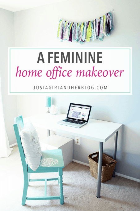 Love this feminine home office makeover with tons of beautiful and functional storage ideas! Click through to the post to see the whole reveal!