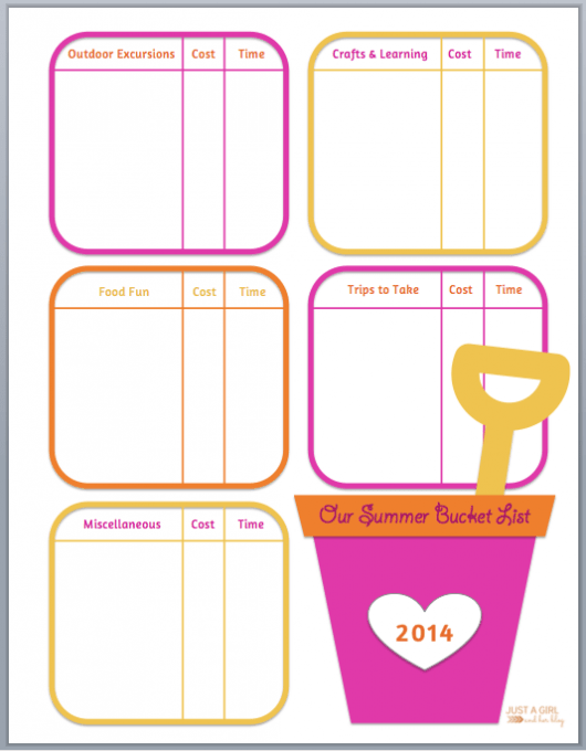 Our Summer Bucket List   Just a Girl and Her Blog at Mom 4 Real