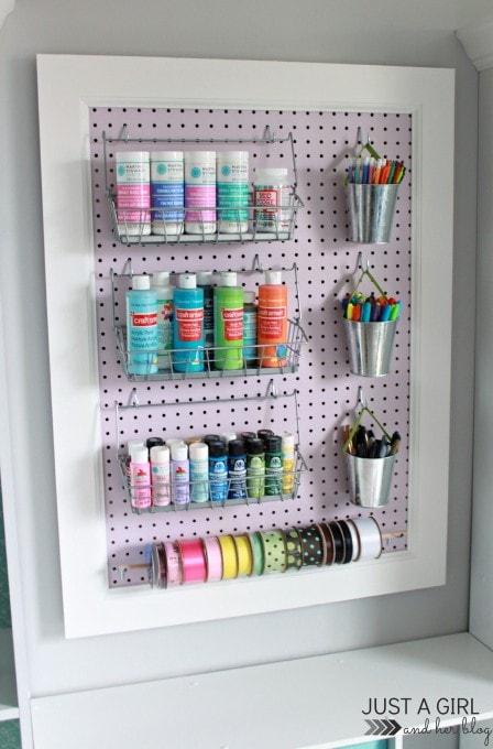 Trash to Treasure A Pegboard Makeover at JustAGirlAndHerBlog.com