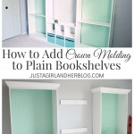 Fancy Bookshelves with Crown Molding {Fabulously Feminine Home Office- Update #3}
