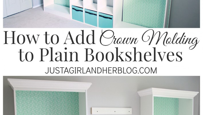 How to Add Crown Molding to Plain Bookshelves at JustAGirlAndHerBlog.com