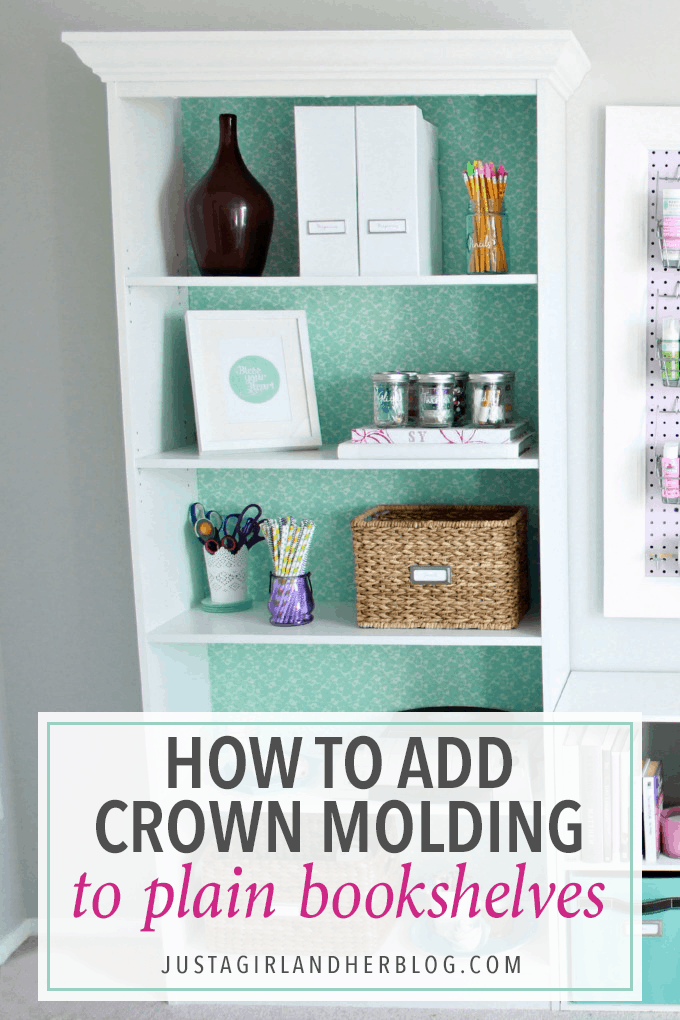 Give your plain bookshelves a built-in look by adding crown molding! This simple tutorial walks you through it step by step. Click through to the post to see how!