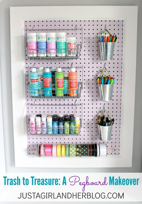 Trash To Treasure A Pegboard Makeover At JustAGirlAndHerBlog.com. U201c