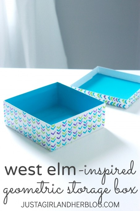 West Elm-Inspired Geometric Storage Box at JustAGirlAndHerBlog.com