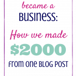 When Our Blog Became a Business: How We Made $2,000 from One Blog Post