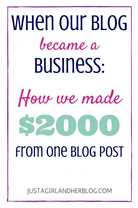 How We Made $2000 from One Blog Post | JustAGirlAndHerBlog.com