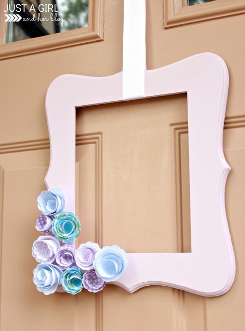 Simple Spring Door Decor at JustAGirlAndHerBlog.com