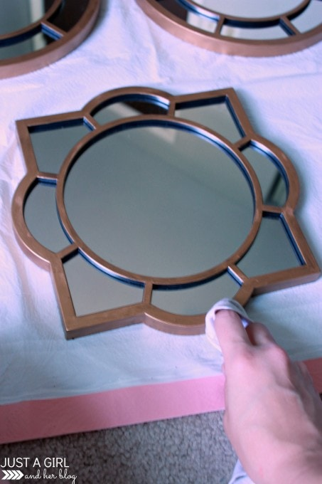 Customizing Mirrors with Rub n Buff at JustAGirlAndHerBlog.com