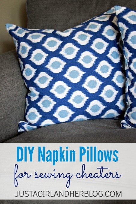 DIY Napkin Pillows for Sewing Cheaters {like me!}