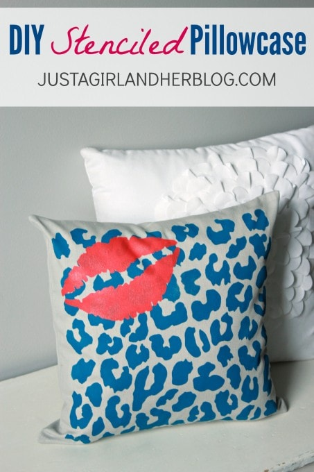 DIY Stenciled Pillowcase at JustAGirlAndHerBlog.com