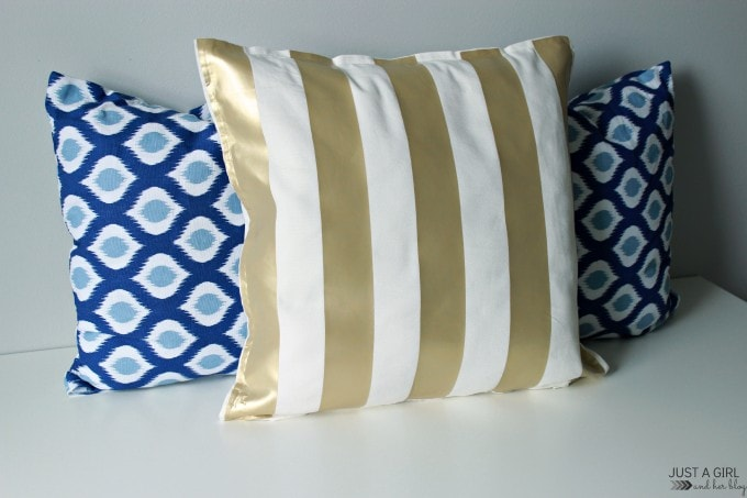 Ralph Lauren-Inspired Gold Striped Pillow at JustAGirlAndHerBlog.com