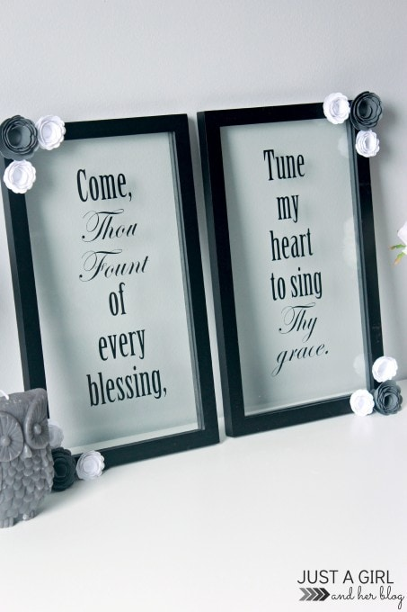 DIY Flower and Hymn Art at JustAGirlAndHerBlog.com
