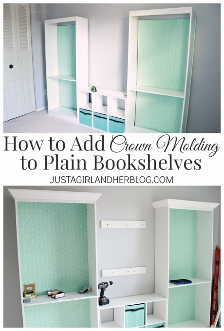 How to Add Crown Molding to Plain Bookshelves by Just a Girl and Her Blog