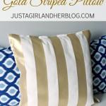 Ralph Lauren-Inspired Gold Striped Pillow