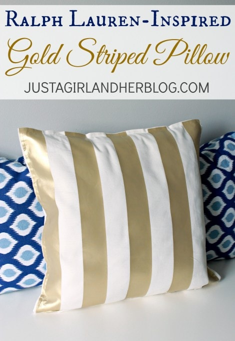 Ralph Lauren-Inspired Gold Striped Pillow