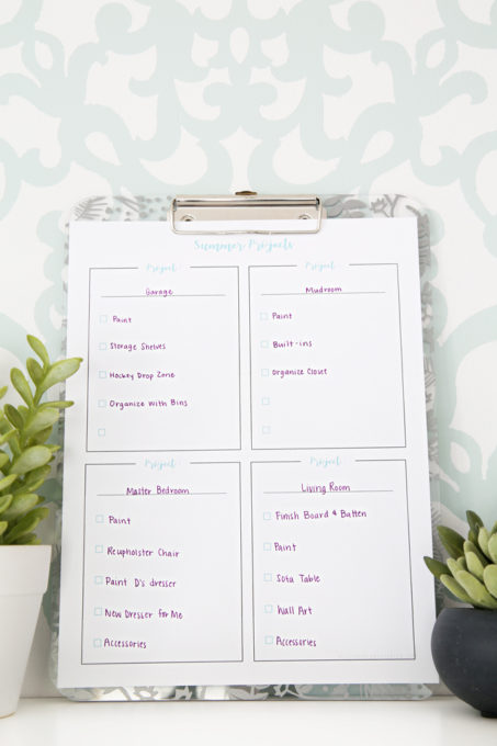 These simple planning printables are perfect for organizing summer projects! Whether you're looking to make some updates around the house or have some projects planned with the kids, these printables can help you make sure you check off all the items on your to-do list! | #planning #summer #houseprojects #summerprojects #freeprintables #freeprintable #prettyprintables #planningprintables #organized #getorganized #todolist #organizing #organize #summerprojectsprintable #thingstodo