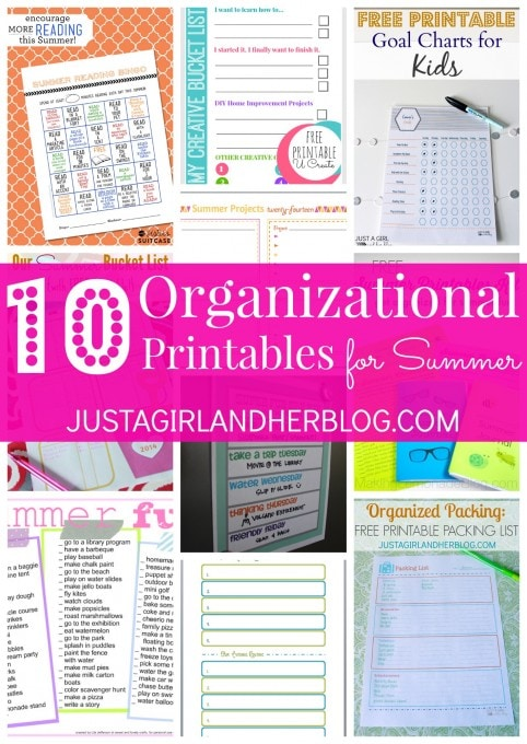10 Organizational Printables for Summer at JustAGirlAndHerBlog.com