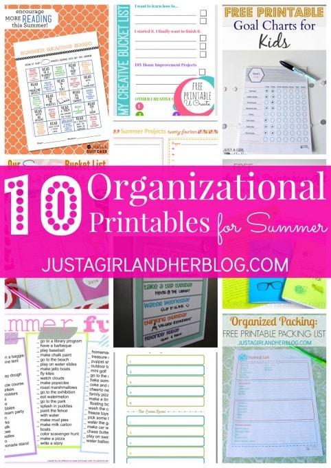 10 Organizational Printables for Summer at JustAGirlAndHerBlog.com