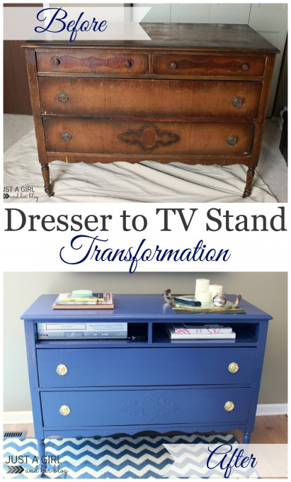 Dresser to TV Stand at JustAGirlAndHerBlog.com