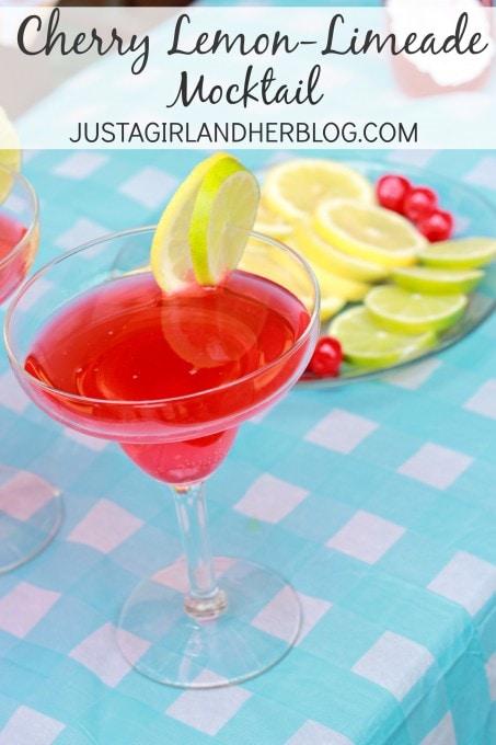 Cherry Lemon-Limeade Mocktail at JustAGirlAndHerBlog.com