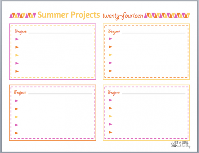 Organizing Summer Projects by Just a Girl and Her Blog