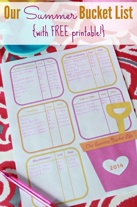 Our Summer Bucket List with Free Printable | Just a Girl and Her Blog for Mom 4 Real