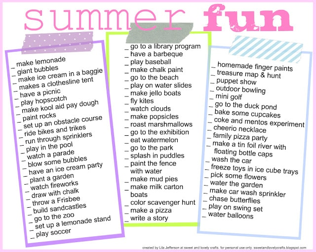 Summer Fun List by Sweet and Lovely Crafts