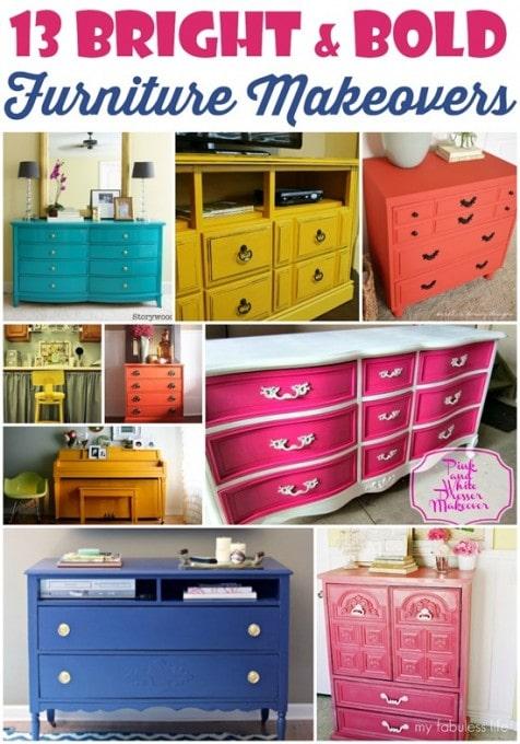 13 Bright and Bold Furniture Makeovers {Domestic Superhero}