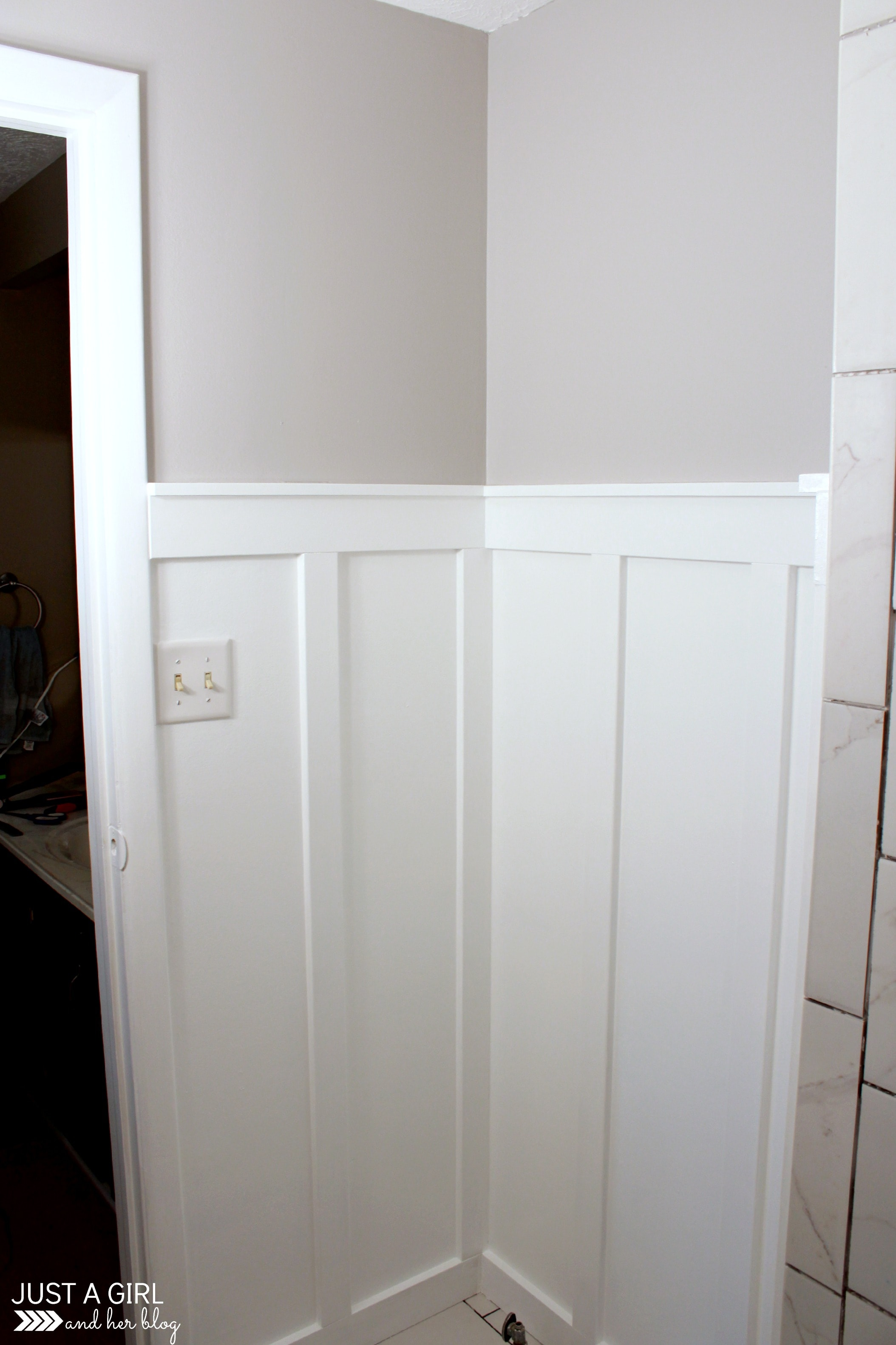 Filed under board and batten wainscoting diy diy projects - How To Install Board And Batten In A Small Space Master Bathroom Update Just A Girl And Her Blog