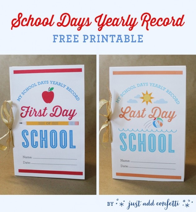 School Days Yearly Record {Free Printable by Just Add Confetti}