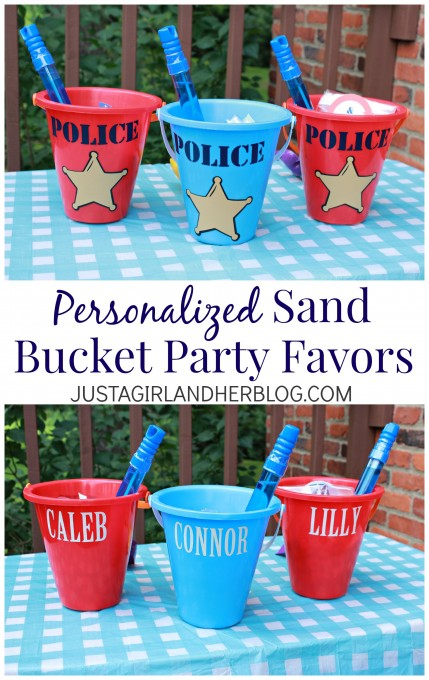 Personalized Sand Bucket Party Favors at JustAGirlAndHerBlog.com