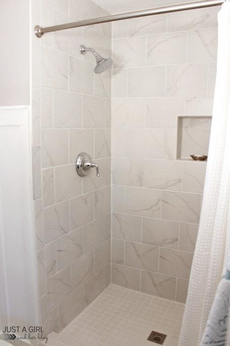 Our DIY Master Bathroom | JustAGirlAndHerBlog.com