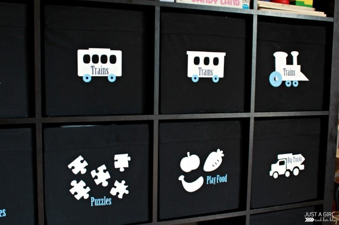 Labeled Toy Bins at JustAGirlAndHerBlog.com