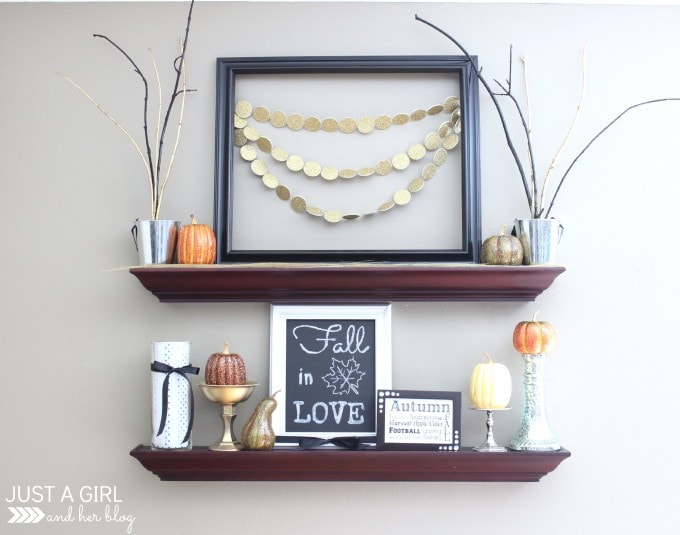 Glam Fall Shelf Decor | JustAGirlAndHerBlog.com