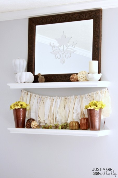 Neutral Fall Shelf Decor | JustAGirlAndHerBlog.com