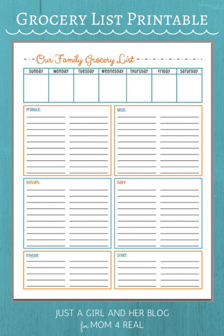Free Grocery List Printable | Just a Girl and Her Blog for Mom 4 Real