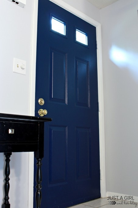 in the entry how to paint an interior door just a girl and her blog. Black Bedroom Furniture Sets. Home Design Ideas
