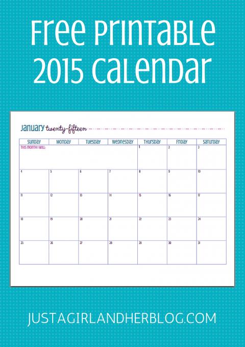 2015 Calendar | JustAGirlAndHerBlog.com