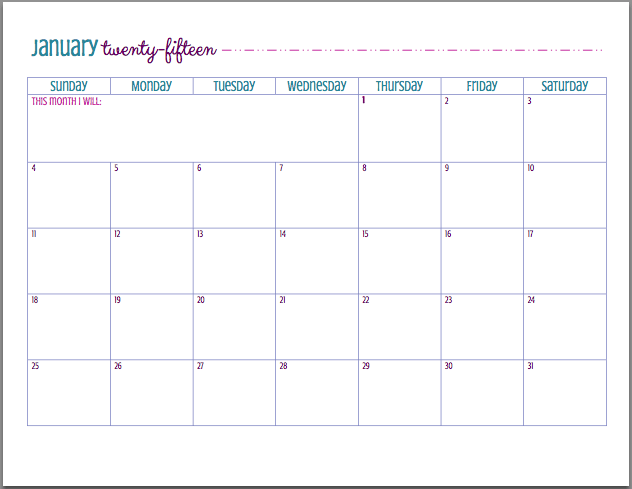 Free Printable 2015 Calendar Just A Girl And Her Blog