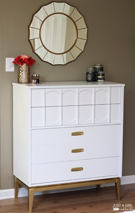 A Gold and White Dresser