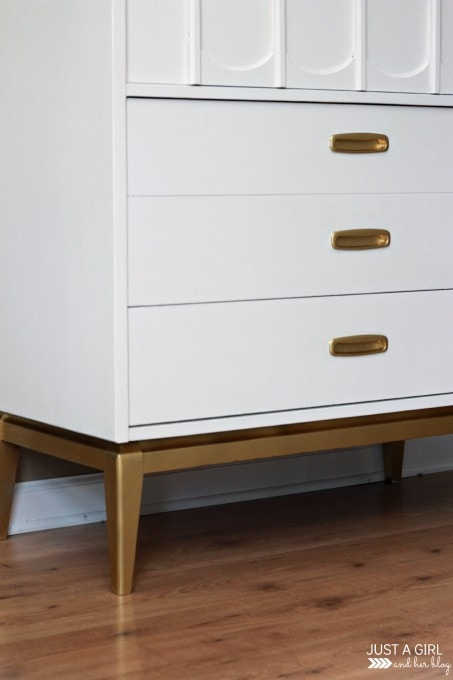 A Gold and White Dresser | JustAGirlAndHerBlog.com
