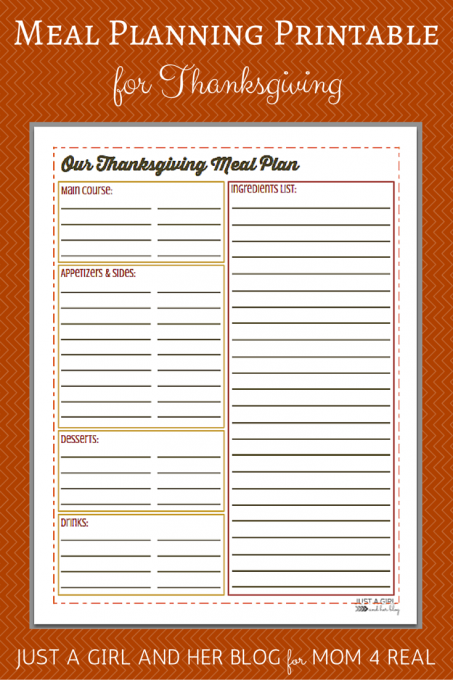 Thanksgiving Menu Meal Planning  Free Printable   Just A Girl And Her Blog
