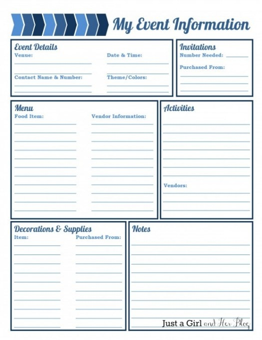 Party Planning Printable | JustAGirlAndHerBlog.com