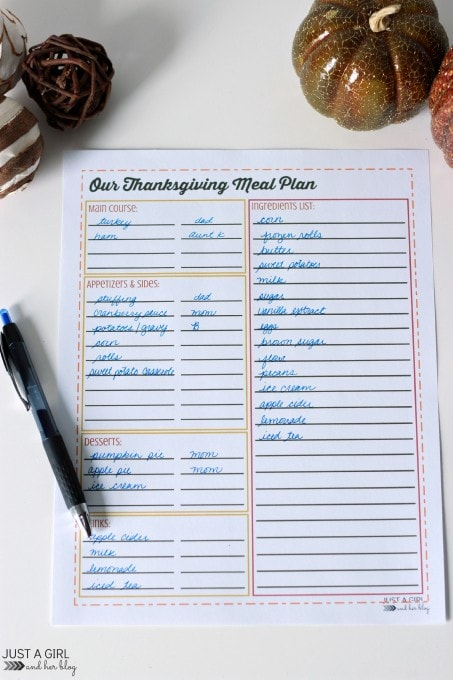 Our Thanksgiving Meal Plan | Just a Girl and Her Blog for Mom 4 Real