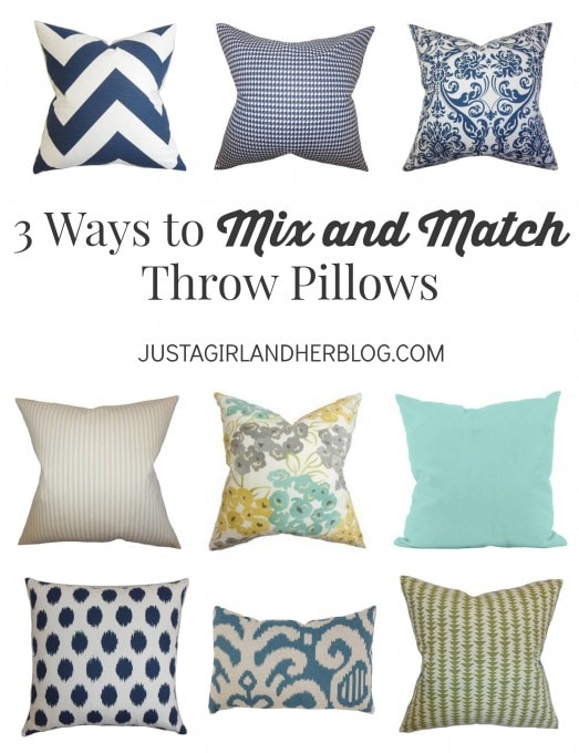3 Ways to Mix and Match Throw Pillows | JustAGirlAndHerBlog.com