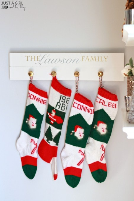 Our DIY Stocking Holder | JustAGirlAndHerBlog.com