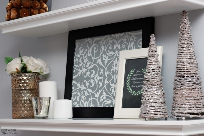 Christmas Shelf Decor | JustAGirlAndHerBlog.com