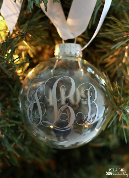 Monogrammed Christmas Ornaments | JustAGirlAndHerBlog.com