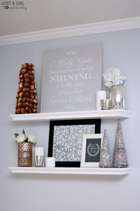 A DIY Sign and Christmas Shelf Decor {Behr Holiday Hues}